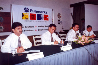 Rajan Sachdev with CMD Pugmarks and Director Pugmarks Inc. USA during a Press Conference.